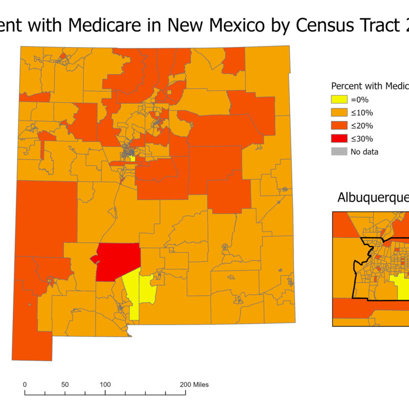 Percent with Medicare in New Mexico by Census Tract 2018