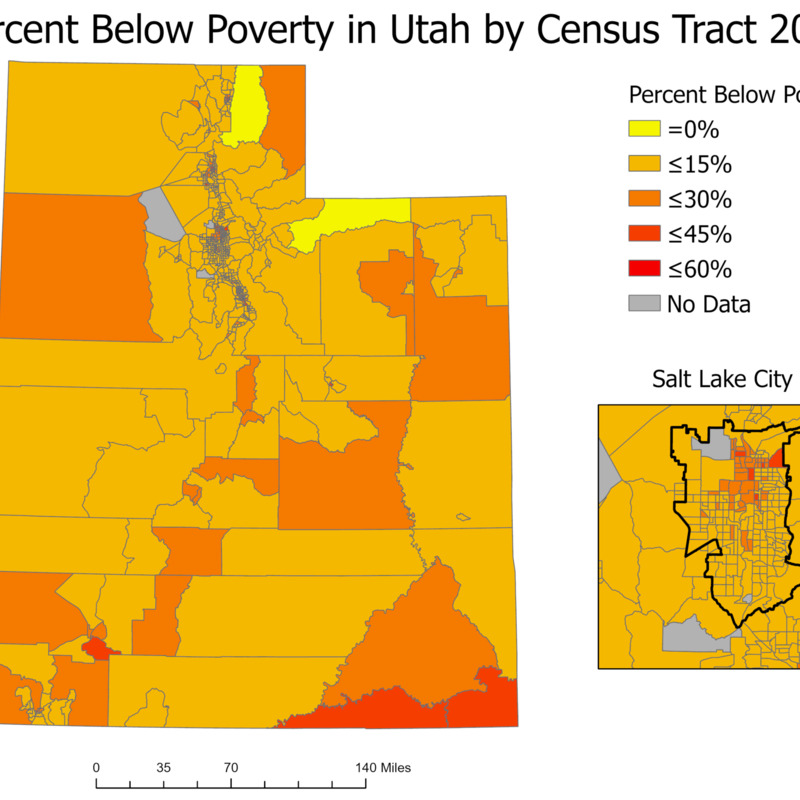 Percent Below Poverty in Utah by Census Tract 2018