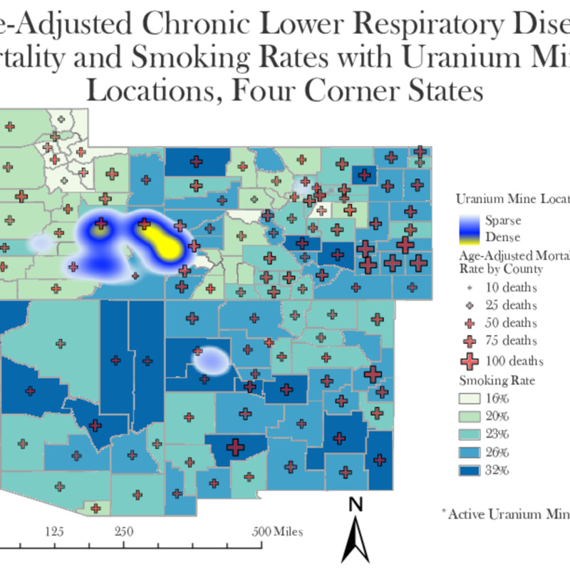 Age-Adjusted Chronic Lower Respiratory Disease Mortality and Smoking rates with Uranium Mining Location Density