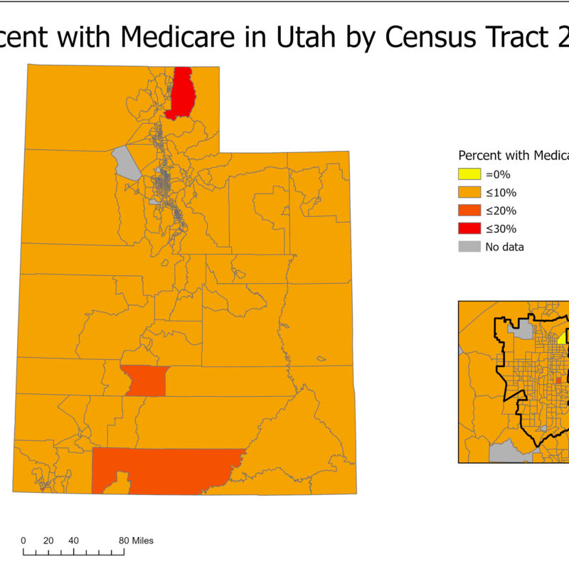 Percent with Medicare in Utah by Census Tract 2018