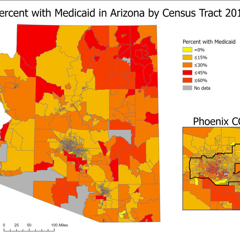 Percent with Medicaid in Arizona by Census Tract 2018