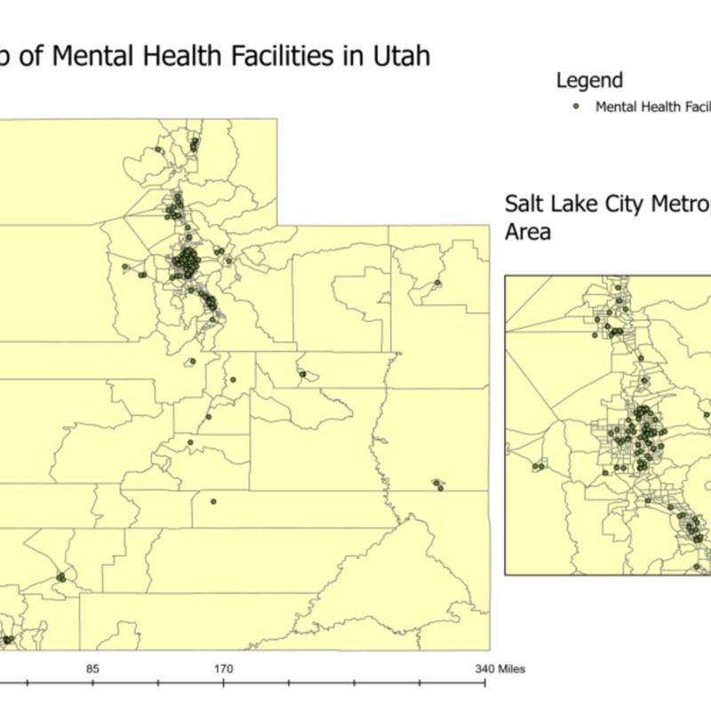 Map of Mental Health Facilities in Utah