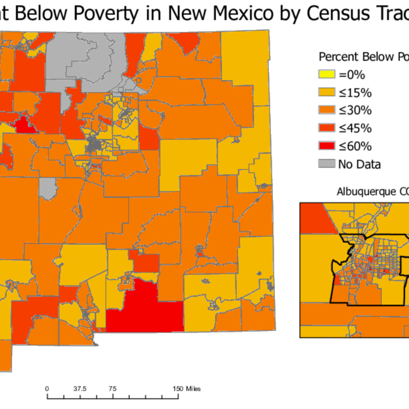 Percent Below Poverty in New Mexico by Census Tract 2018
