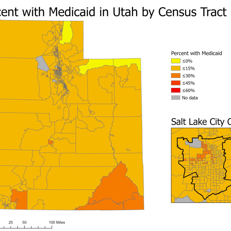 Percent with Medicaid in Utah by Census Tract 2018