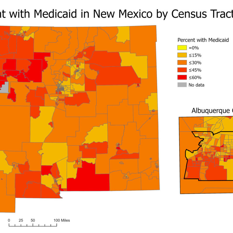 Percent with Medicaid in New Mexico by Census Tract 2018