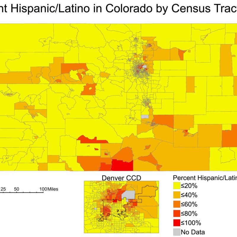Hispanic/Latino Population Percentages in Colorado