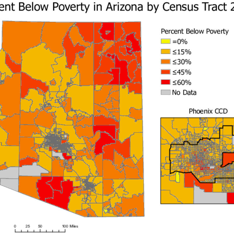 Percent Below Poverty in Arizona by Census Tract 2018