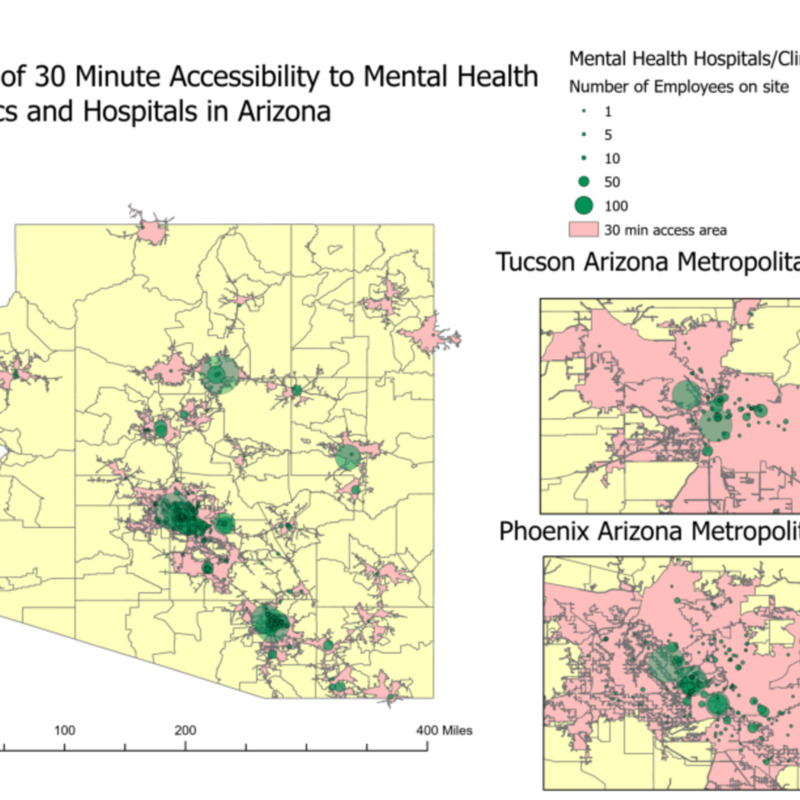 Map of 30 Minute Accessibility to Mental Health Clinics and Hospitals in Arizona