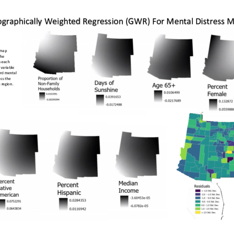 Geographically Weighted Regression (GWR) Covariate Raster Maps for Mental Distress