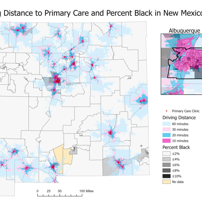Driving Distance to Primary Care and Percent Black in New Mexico 2018