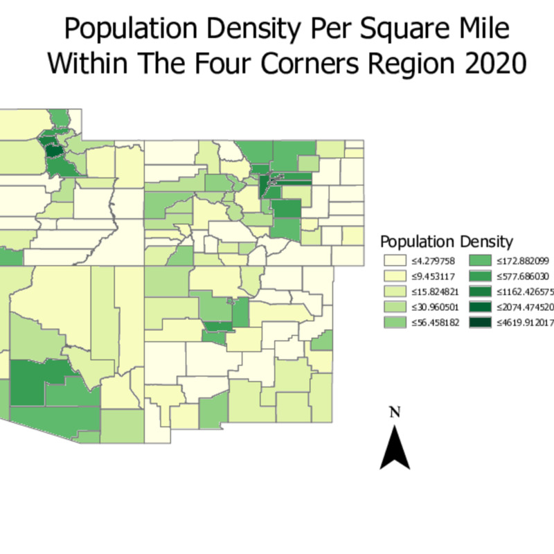 Population Density per Square Mile Within the Four Corners Region 2020