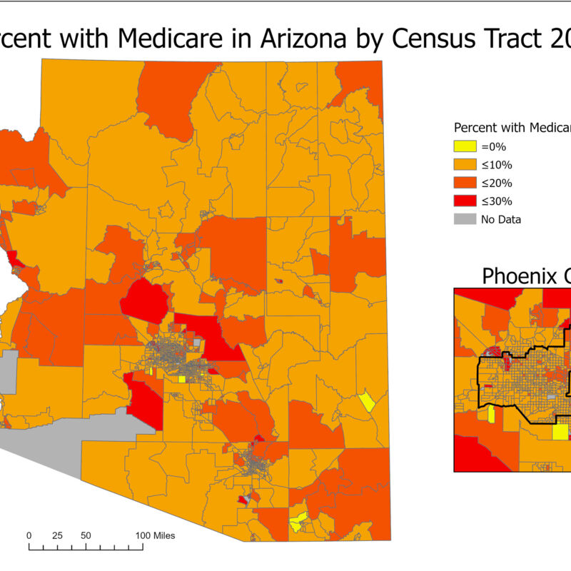 Percent with Medicare in Arizona by Census Tract 2018
