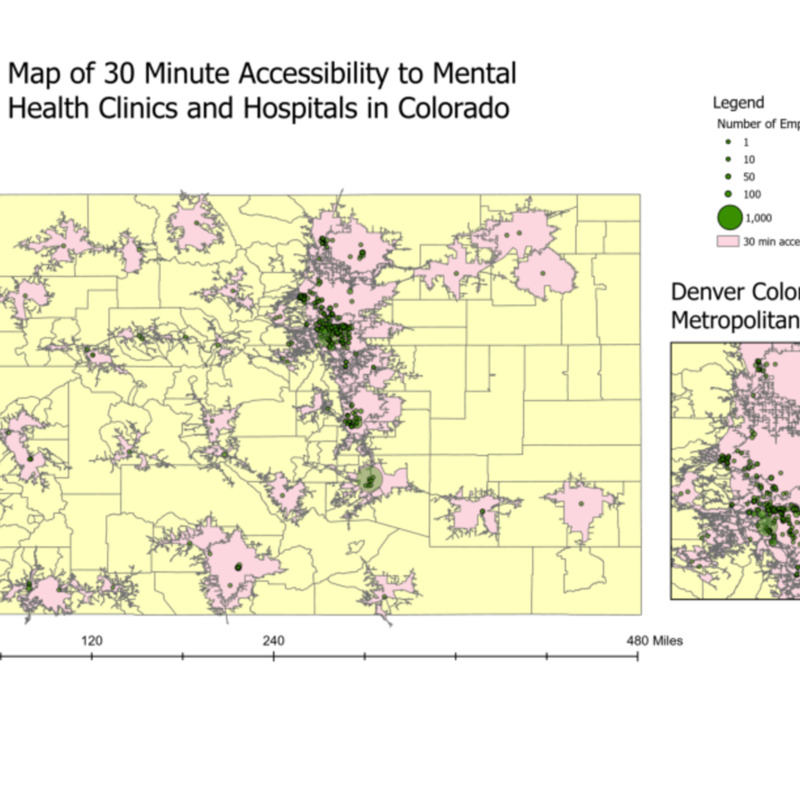 Map of 30 Minute Accessibility to Mental Health Clinics and Hospitals in Colorado