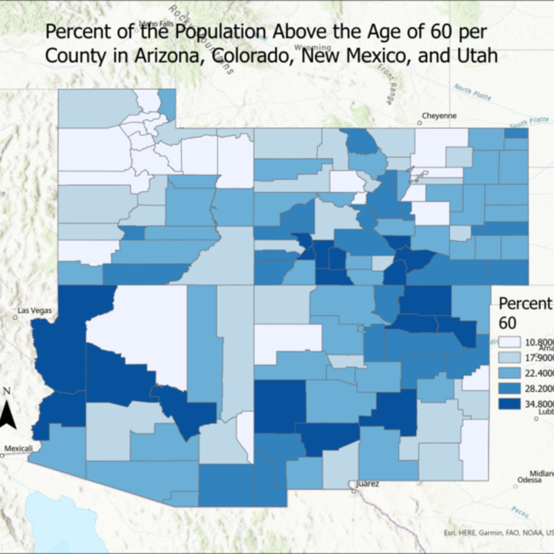 Percent of the Population Above Age 60 in Arizona, Colorado, New Mexico, and Utah