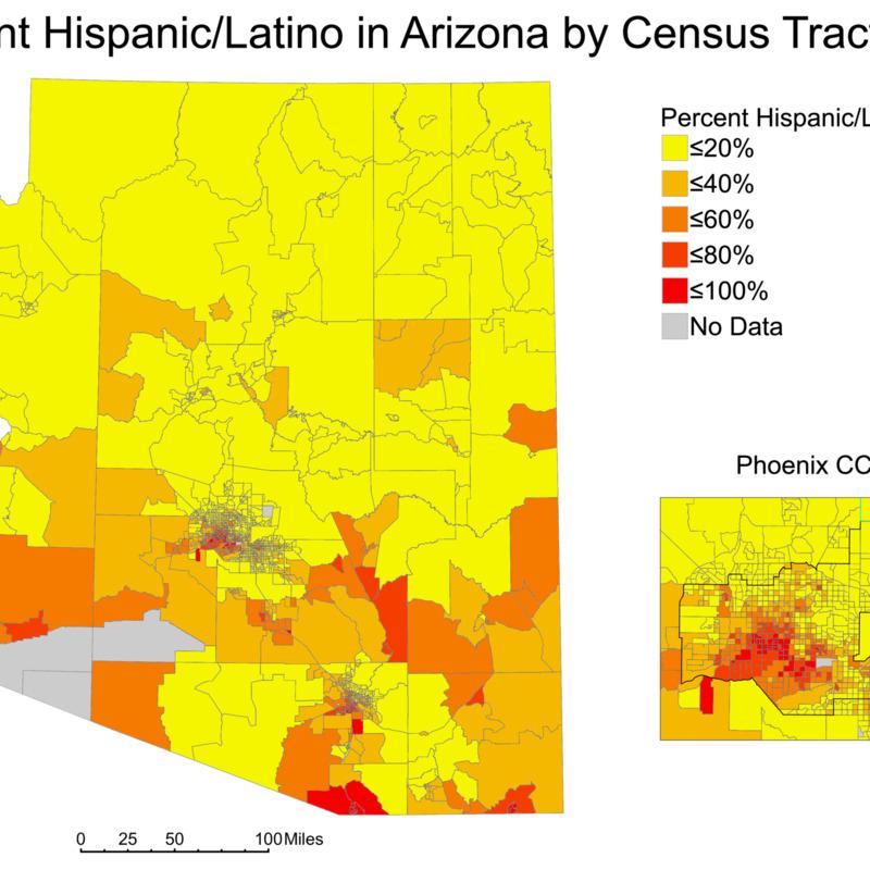 Hispanic/Latino Population Percentages in Arizona