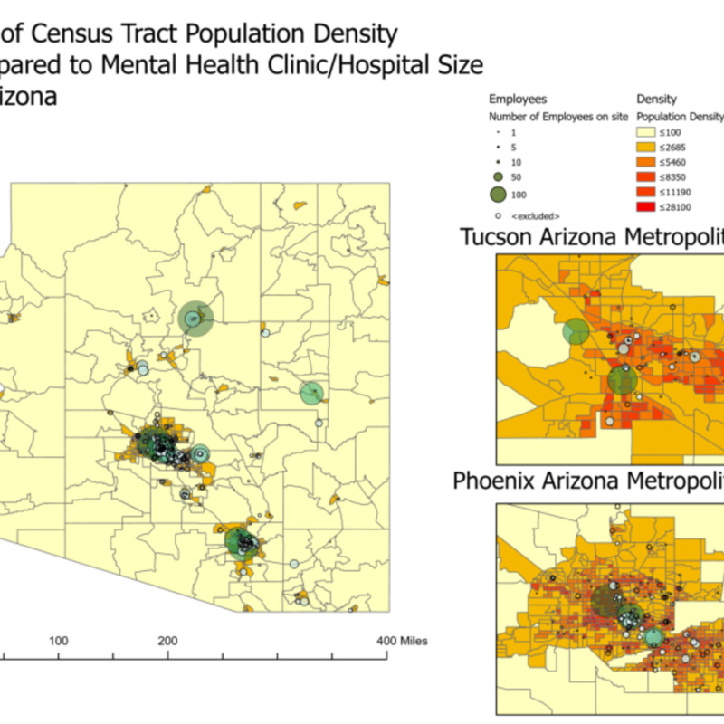 Map of Census Tract Population Density Compared to Mental Health Clinic/Hospital Size in Arizona