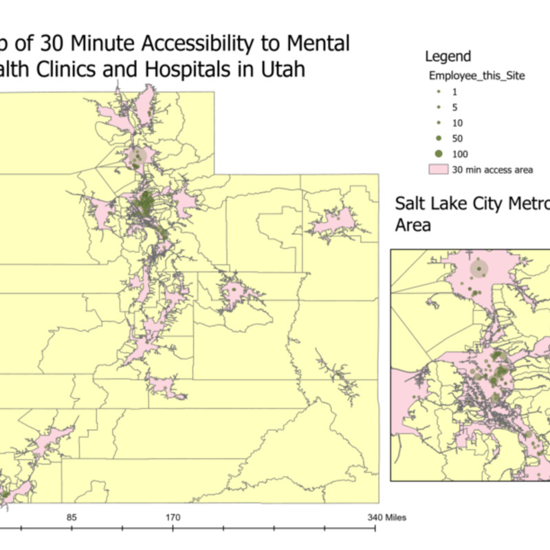 Map of 30 Minute Accessibility to Mental Health Clinics and Hospitals in Utah