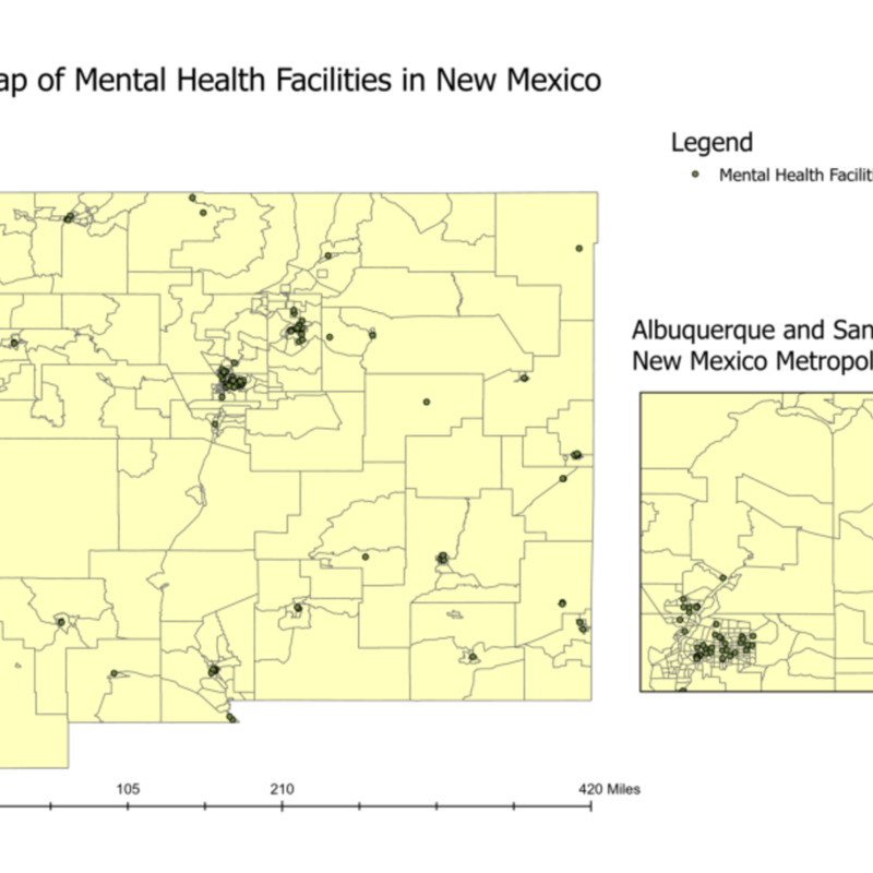 Map of Mental Health Facilities in New Mexico