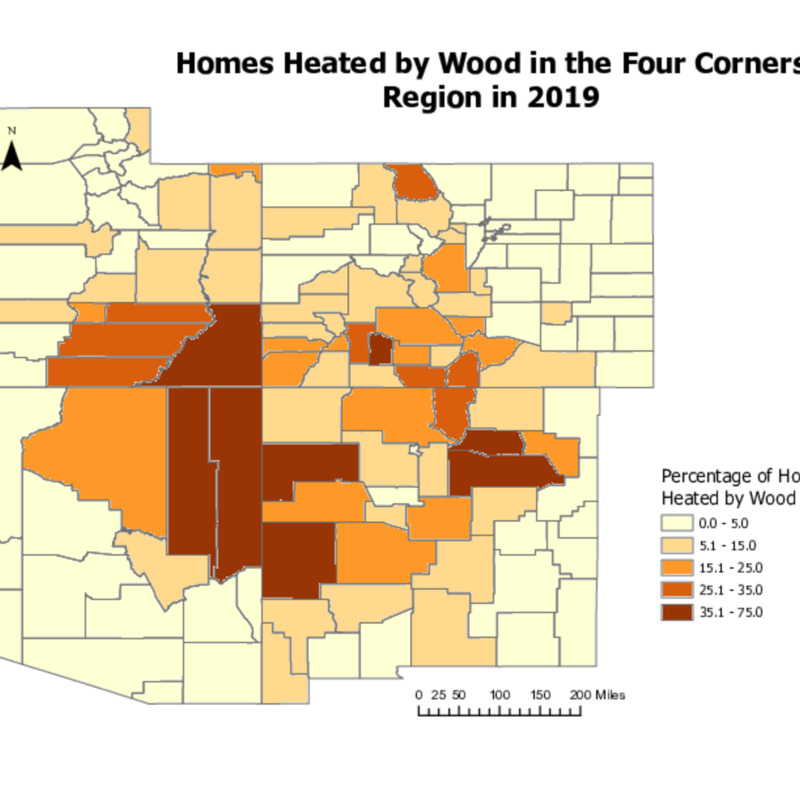 Percentage of Homes Heated by Wood Burning by County in the Four Corners Region (2019)