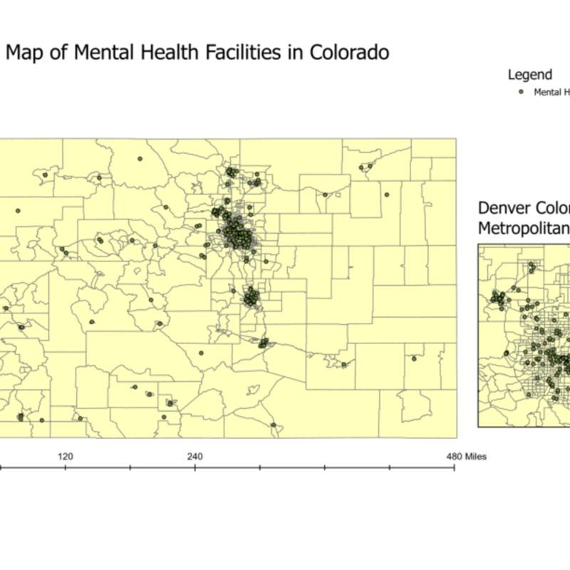 Map of Mental Health Facilities in Colorado