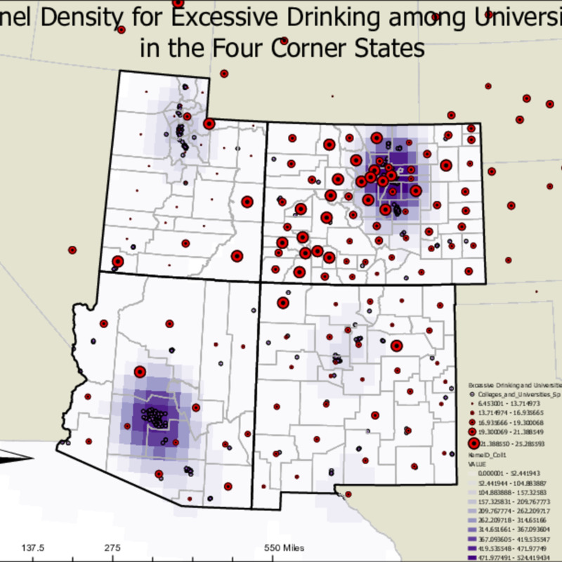 Kernel Density for Excessive Drinking among Universities in the Four Corner States